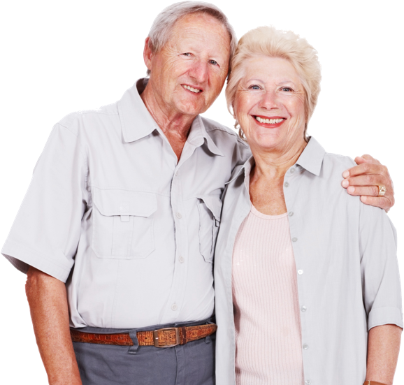 Couple wearing neutral clothing and smiling